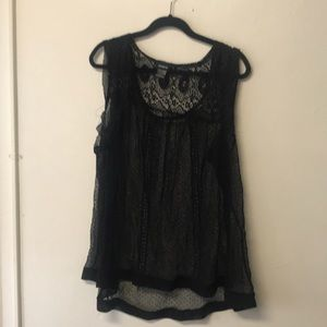 Sheer black embroidered sleeveless